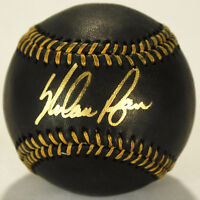 Nolan Ryan Signed Black Leather OML Baseball (PSA COA)