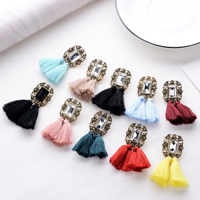 Earrings - Women's Fashion Bohemian Rhinestone Crystal Tassel Fringe Boho Dangle Earrings