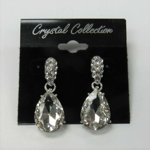 Silver Clear Rhinestone Austrian Crystal Teardrop Dangle Earrings Bridal Wedding