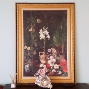 Joli tableau avec cadre - Flower painting  with frame