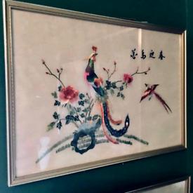 Japanese silk framed pictures