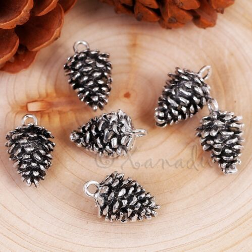 Pine Cone Charm 20mm - Antiqued Silver Autumn Pendants C5491 - 5, 10 or 20PCs