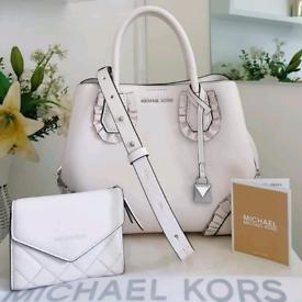 (Jo's post) Michael Kors optic white MERCER GALLERY BAG & FREE PURSE