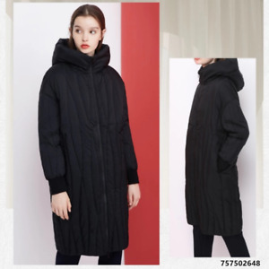 Black Hooded Winter Down Coat, With Dark Vertical Stripes