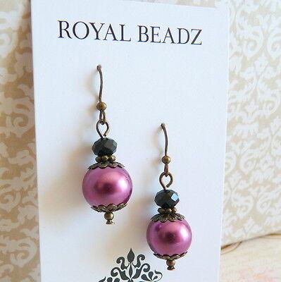 Victorian Vintage Style Plum Berry Pearl Black Crystal Bronze Drop Earrings #AR