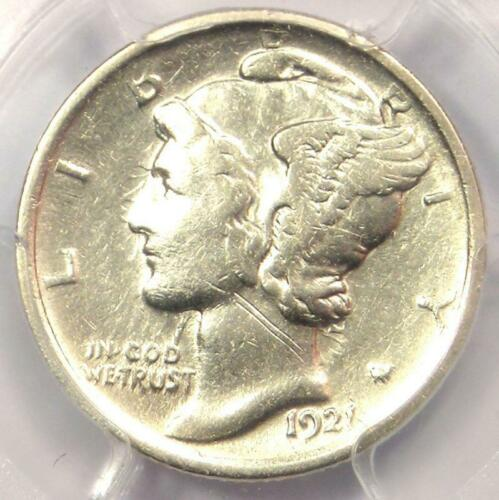 1921 Mercury Dime 10C Coin - Certified PCGS VF Details - Rare Date - Looks XF!