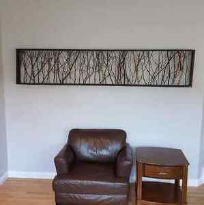 """96""""x20"""" custom frame in birch with tinny branches."""