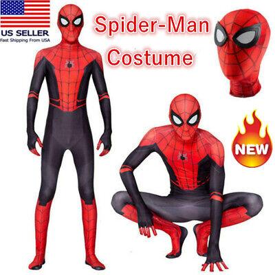Boys Black Spiderman Costume (Boys Spider-Man Far From Home Spiderman Zentai Cosplay Costume Kids JumpSuit)