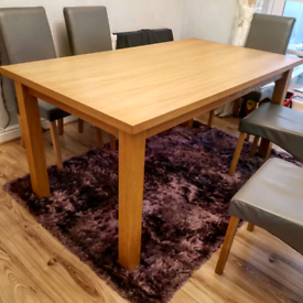 Oak dining table six seater
