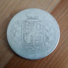 1880 Victorian .925 SILVER HALF CROWN coin