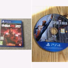 PS4 Games Marvel SPIDER-MAN & NBA2K20 Like New