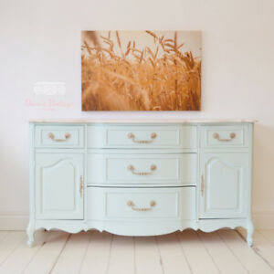 French Provincial Buffet / Sideboard / Hutch with Stained Top