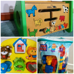 3 toys for $10, mega blocks, Fisher Price and wooden toy