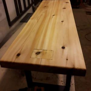 Custom built natural cedar bench, 42x14x18high