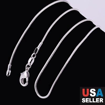 (New Stunning 925 Sterling Silver Stamp Snake Chain Necklace 1mm 18
