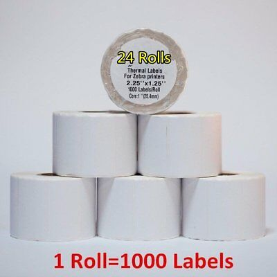 2.25x1.25 24 Rolls Direct Thermal Barcode Labels Zebra Lp2824 Lp2844 Tlp2824