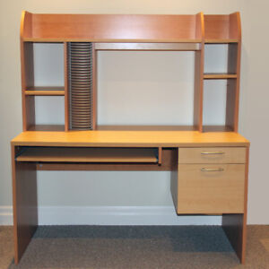 Student / Office desk with hutch, keyboard tray and two drawers.