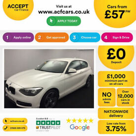 White BMW 118 d Sport 2.0 Auto 2015 72mpg FROM £57 PER WEEK!