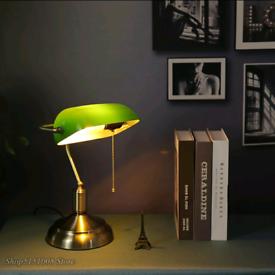 Vintage table lamp , banker table lamp , banker lamp ,retro lamp