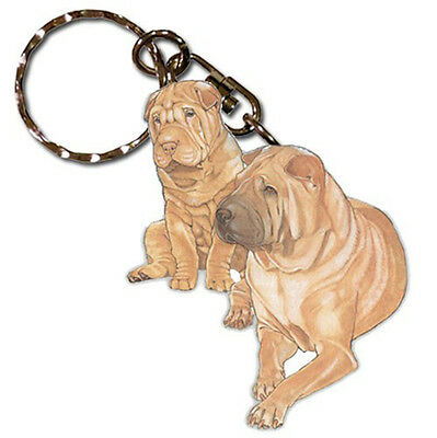 Shar Pei Wooden Dog Breed Keychain Key Ring