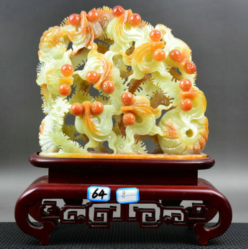 """12"""" Chinese Natural Xiu Jade Jadeite Carved Feng Shui Fish luck Statue Decorate"""