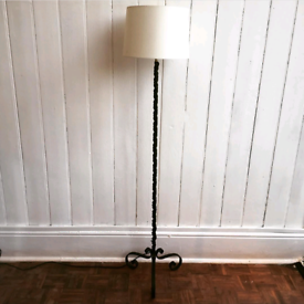 French antique wrought iron standard lamp