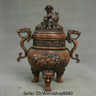 Chinese Antique Collection Red Copper Incense Burner Shuanglong Play Beads