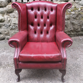 QueenAnne Wingback Leather Chair