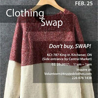 Volunteers needed to help with Clothing Swap SAT FEB 25 - 10AM