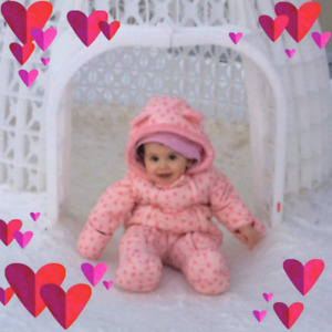 Baby girl one piece snow suit