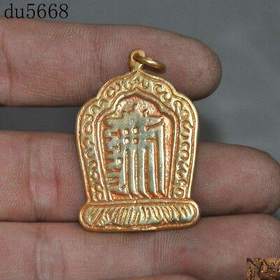 Tibetan Buddhism bronze 24k gold Vajra Dorje Phurpa Exorcism Talisman Pendant
