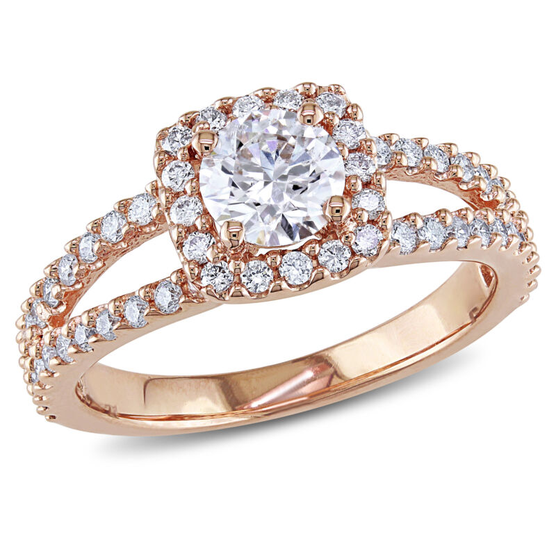 Amour 1 CT TW Halo Diamond Engagement Ring in 14k Rose Gold