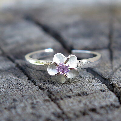 Hawaii Design 925K Sterling Silver Plumeria Flower Pink CZ Toe Ring 4mm TR1012
