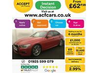 2015 RED BMW 320D 2.0 M SPORT DIESEL AUTO SALOON CAR FINANCE FR 62 PW