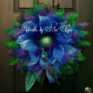 Large Peacock  Flower Wreath