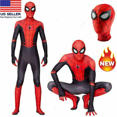 USA Spider-Man: Far From Home Jumpsuits Cosplay Costume Adults Spandex Bodysuits