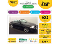 Black BMW 120i M Sport 2.0 2008 convertible Auto 170bhp FROM £36 PER WEEK!