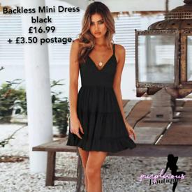 Backless Mini Dress black
