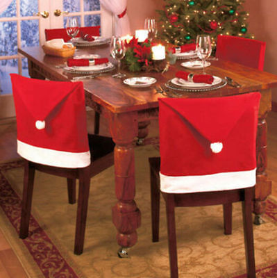 Party  Christmas Decoration Table  Red Hat Decor  Dinner  Chair Cover Clause 1pc