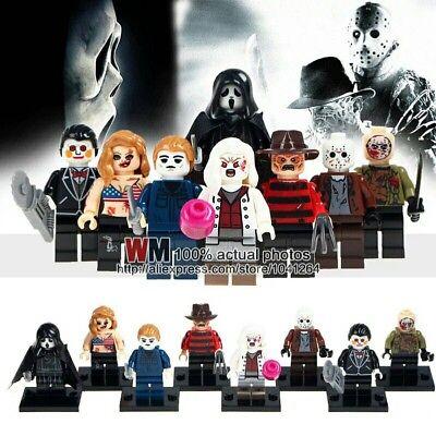 8Pcs Horror Theme Jason Scream Killer Freddy krueger lego halloween toys kids  - Halloween Jason Theme