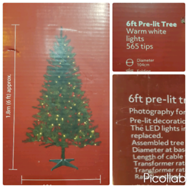 Christmas trees with lights. Brand new in the box. 6ft.