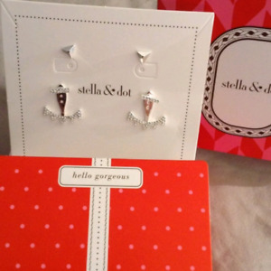 Stella & Dot Pave Triangle Earrings - Silver