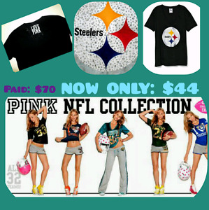 NEW . VICTORIA SECRET PINK. LADIES NFL COLLECTION FOOTBALL SHIRT