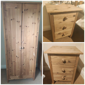 Wardrobe and Bedside drawer set pine
