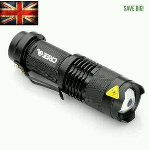 Flashlight CREE Q5 7W 2000LM LED Adjustable Focus Zoom Light Lamp Torch UK
