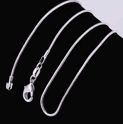(925 Sterling Silver Stamp 925 SNAKE 1mm Chain Necklace 16