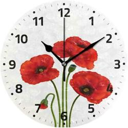 Poppy Flowers Wall Clock Battery Operated Non Ticking Silent Round Acrylic Red