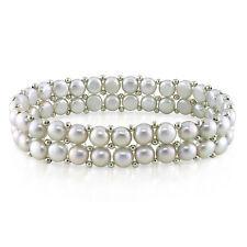 "Amour 7"" 6-7mm  Freshwater Pearl Elastic Bracelet & Brass Beads"