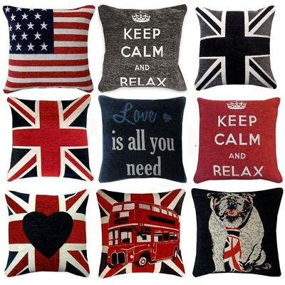 Union Jack Cushions (UNION JACK & RETRO Design Chenille Cushion Covers or Filled Cushions 18