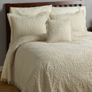 Wedding Ring 3-Pc. Chenille Bedspread Set Ivory- Queen, New